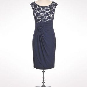 DRESS BARN Lace Bodice Faux Wrap Dress Navy sz 10